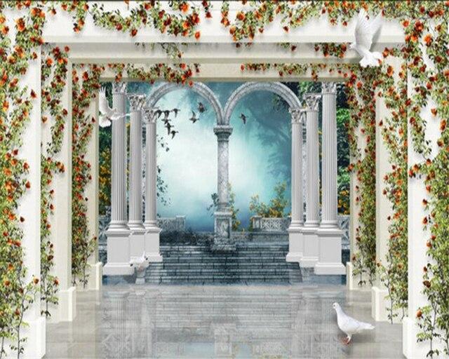 garden columns. Beibehang Large Photo Wallpaper European Style 3d Roman Columns Garden Rose TV 3D Living Room Background