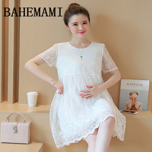 BAHEMAMI Maternity Clothes 2018 Summer Maternity Short Lace Patchwork Plus Size Loose Dress Pregnancy Clothes for Pregnant Women