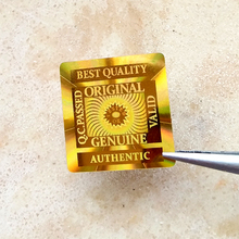 "15x15mm 2000 stücke BEST QUALITÄT ""ORIGINAL GENUINE AUTHENTIC VALID TESTED OK hologramm hologramm aufkleber in GOLD"