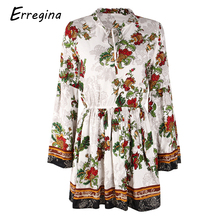 цены на Erregina Women Summer Print Mini Dress Floral Summer Holiday Long Sleeve V-neck Causal Boho Girl Short Dress Plus Size Dresses в интернет-магазинах