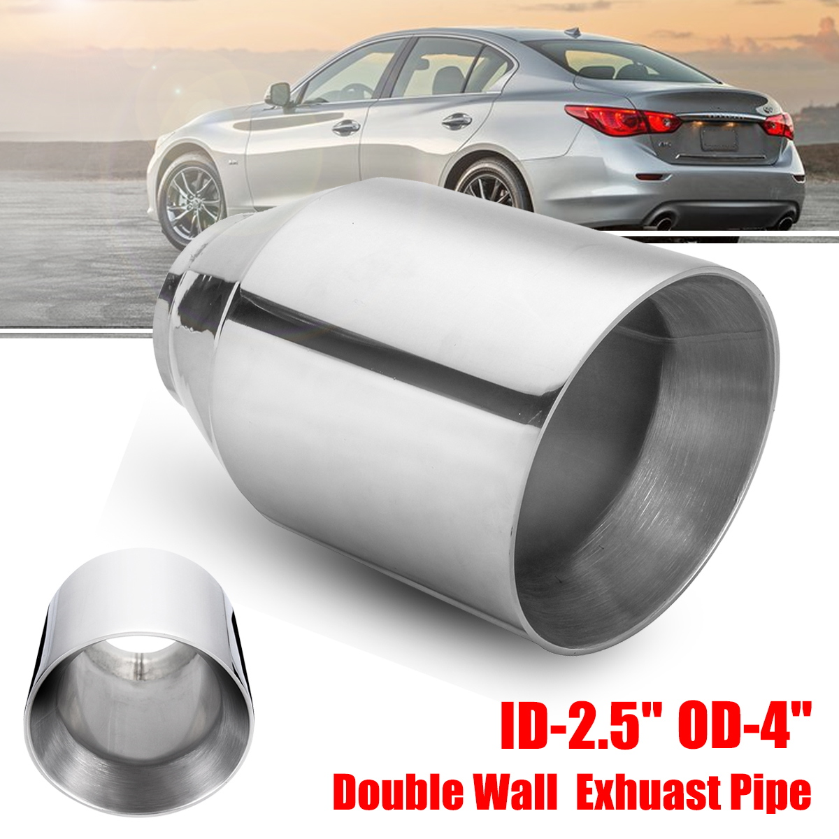 universal 2 5 inlet 4 outlet car exhaust tip auto tail pipe muffler dual wall angle cut outlet nozzle