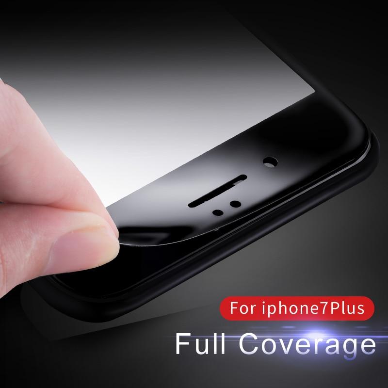 Vpower för iPhone 7/7 plus härdat glas skärmskydd Ultra Thin 3D mjuk sidokant 9H skyddande film