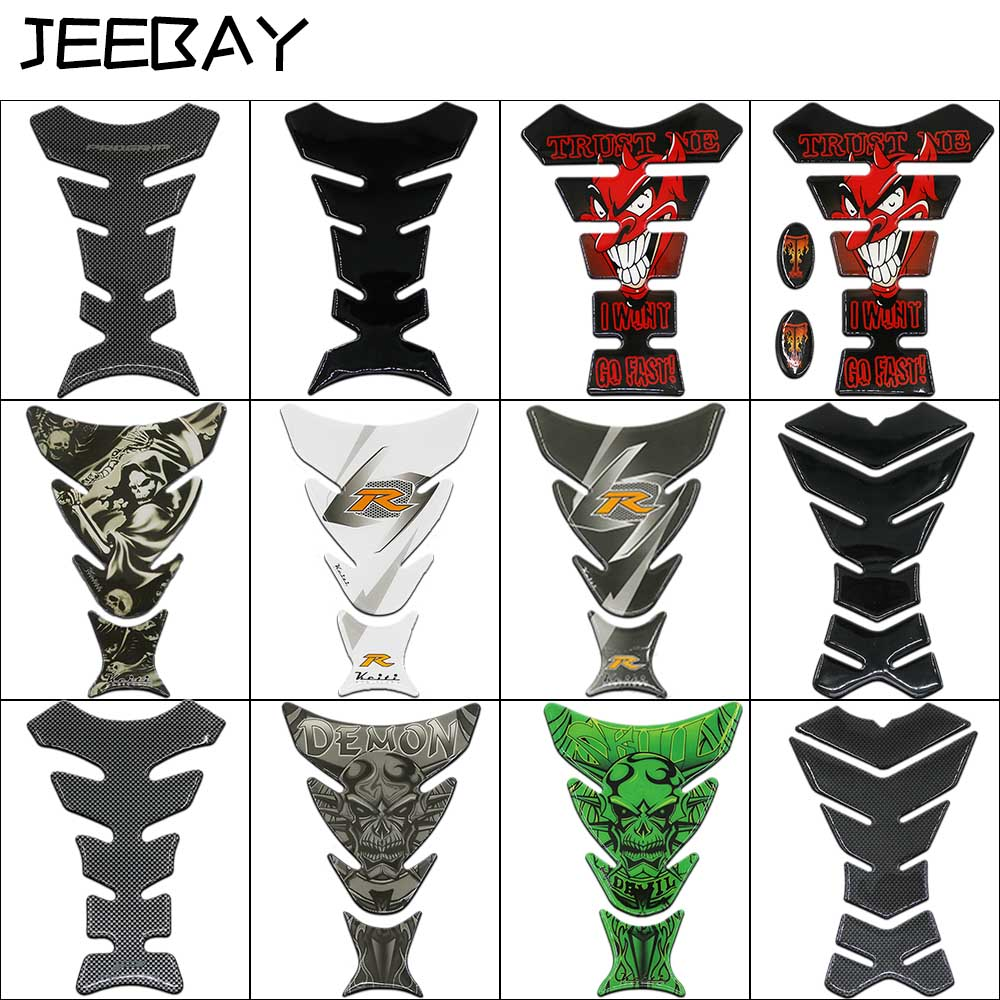 JEEBAY New Car Motorcycle Tank Sticker Decals 3D Carbon Fiber Devil Skull Logo Protect Fuel Tank Pad Moto Racing Accessories