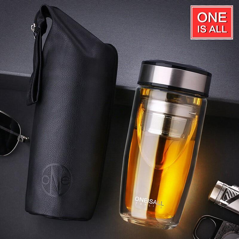 Kiváló minőségű duplafalú üvegbögre Kávé Tea bögre csészék Saját üveg víz pohárhoz pohár vízpalack csésze tea Infuser