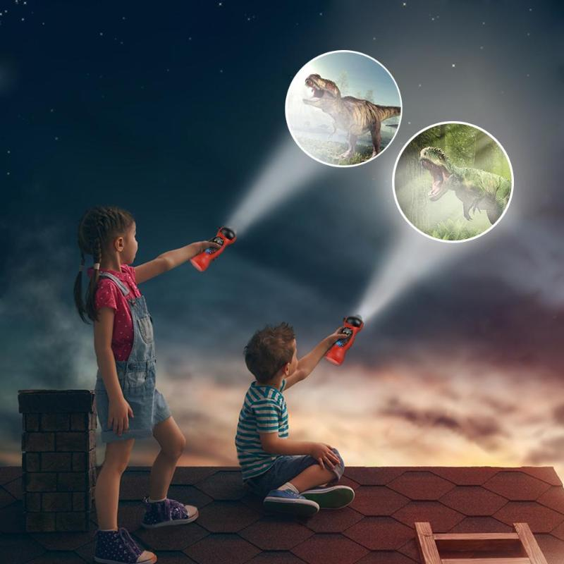 24 Patterns Children Sleep Light LED Flashlight Cartoon Projector Dinosaur Projection Lamp Rotary Early Educational Toys