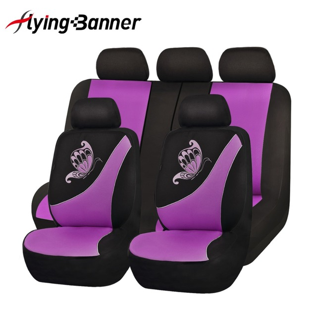 High Quality Pink Color Car Seat Cover Universal Fit Most Cars And Butterfly Printing Breathable Sandwich Cloth