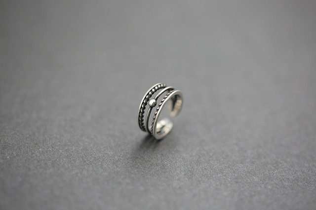 925 Sterling Silver Multilayer Open Rings For Women Retro Punk Lady Sterling-silver-jewelry