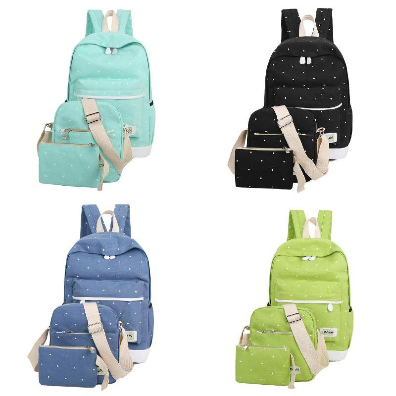 Fresh Canvas Women Backpack Big Girl Student Book Bag With Purse Laptop 3pcs Set Bag High Quality Ladies School Bag LBY2 big capacity high quality canvas shark double layers pen pencil holder makeup case bag for school student with combination coded lock