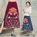 Женская национальная ветер хлопок бюст юбки 2016 осень кнопки вышивка пластины длинный участок-тип юбка большой метров