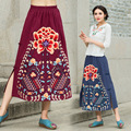 Women's national wind cotton bust skirt 2016 autumn embroidery plate buttons long section of A-type skirt big yards