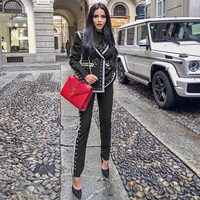 Winter black two piece long sleeved V neck rivet blazer and high waist pants casual women's suit celebrity runway party set
