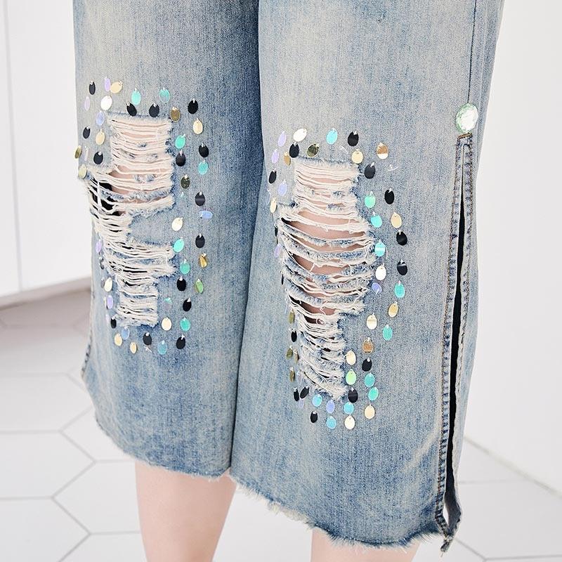 Moda Agujero Jeans Light Las Partido M Capri 2019 De Mujer Pantalones Mujeres Tamaño Lentejuelas Lxmsth Blue La Verano 7xl Denim Plus Novio P8WAwqPZ