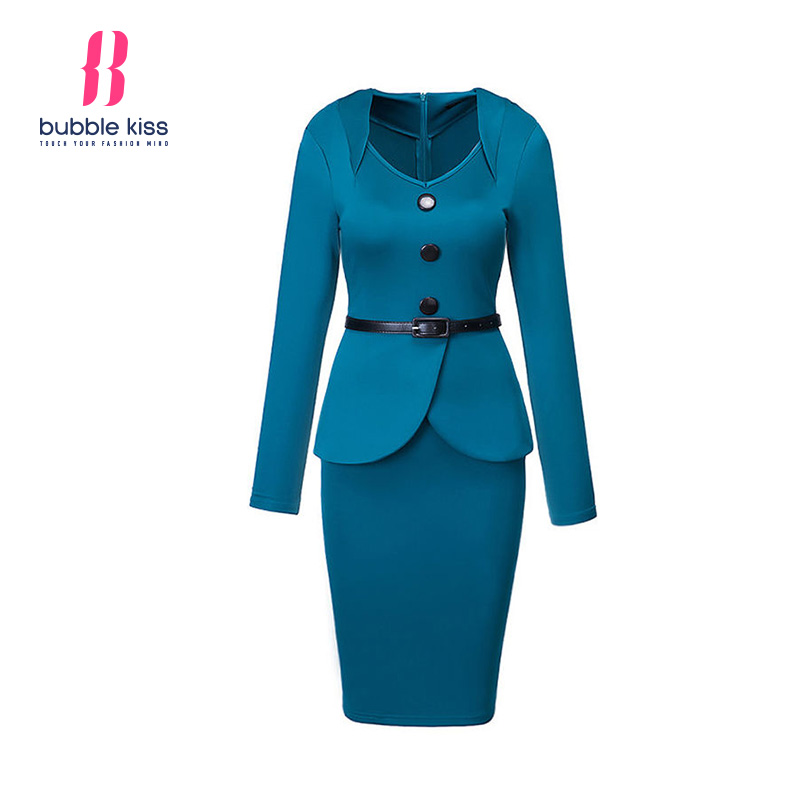Formal Dress Women Long Sleeve Solid Color Ladies Work Wear Button Decorative Office Bodycon Dress Bubblekiss