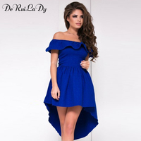 DeRuiLaDy Ruffles Women Summer Dress 2018 Female Sexy Off Shoulder Party Dresses Elegant Red Blue Casual
