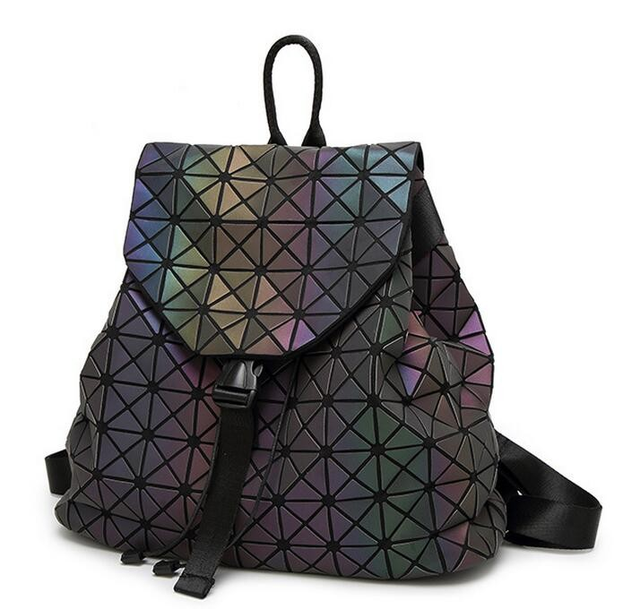 Biseafairy Luminous Backpack Diamond Lattice Bag Travel Geometric Women Fashion Bag Teenage Girl School Noctilucent Backpack 12