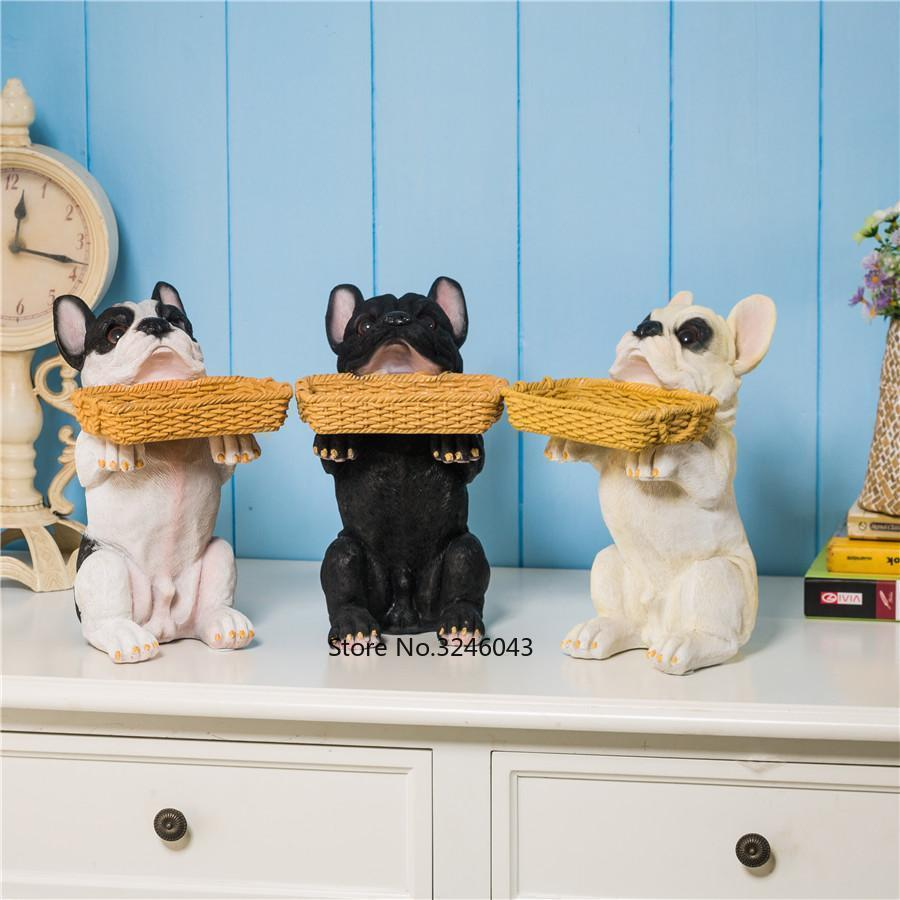 Creative living room entrance porch Lucky dog key card animal tray New House decorations crafts furnishings