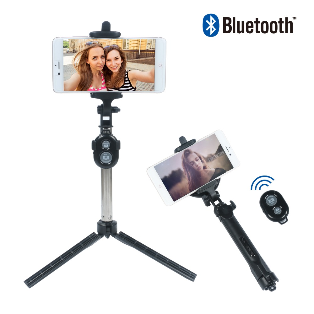 3 in 1 Foldable Selfie Stick Self Bluetooth Selfie Stick+Tripod+Bluetooth Shutter Remote Controller for iPhone/Android Phone
