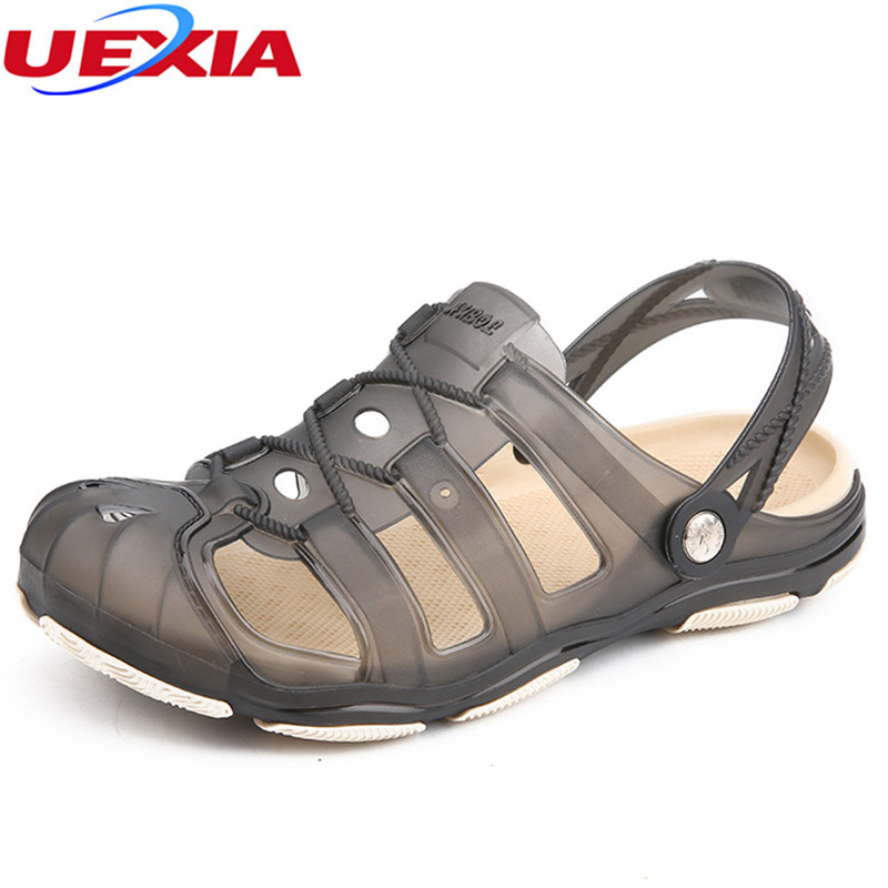 UEXIA Hollow Flats Fashion Sandals Summer Mens Slippers Leather Shoes Beach Casual Home Slippers Men Shoes Flip-Flops Zapatos