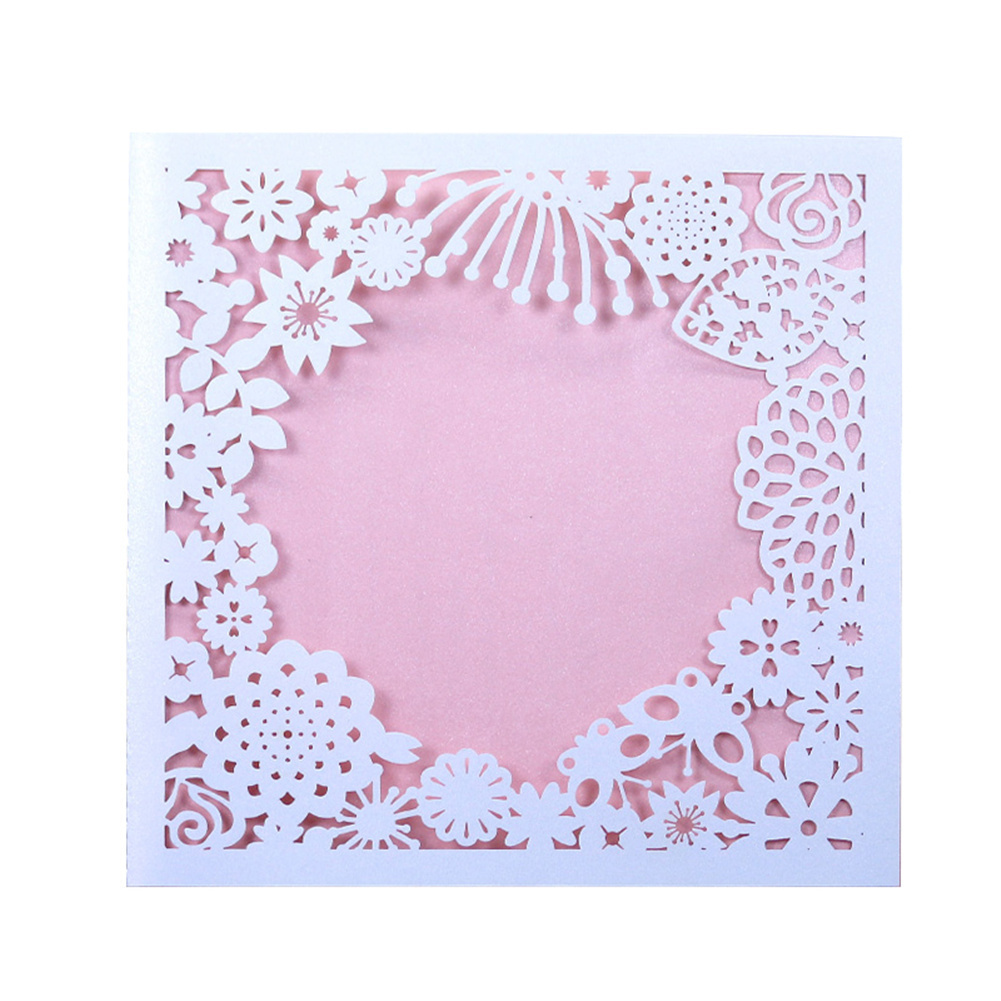Red And Pink Wedding Invitations: 10pcs/lot Hollow Out Lace Wedding Invitations Red Pink