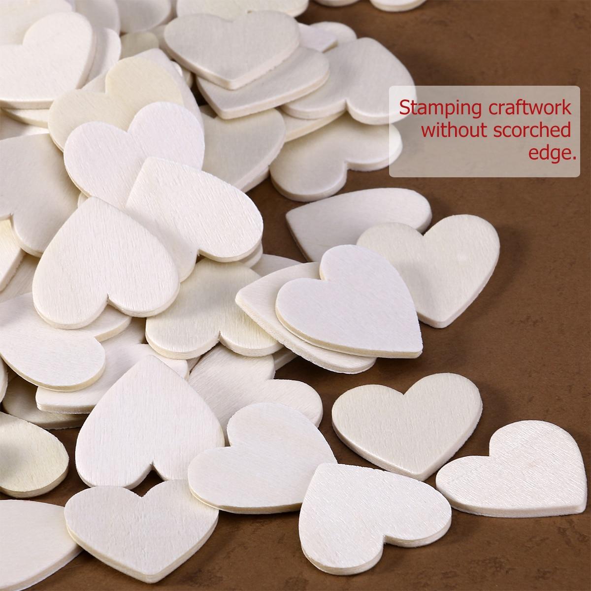 130pcs Heart Shaped Natural Wood Log Slices For DIY Crafts Wedding ...