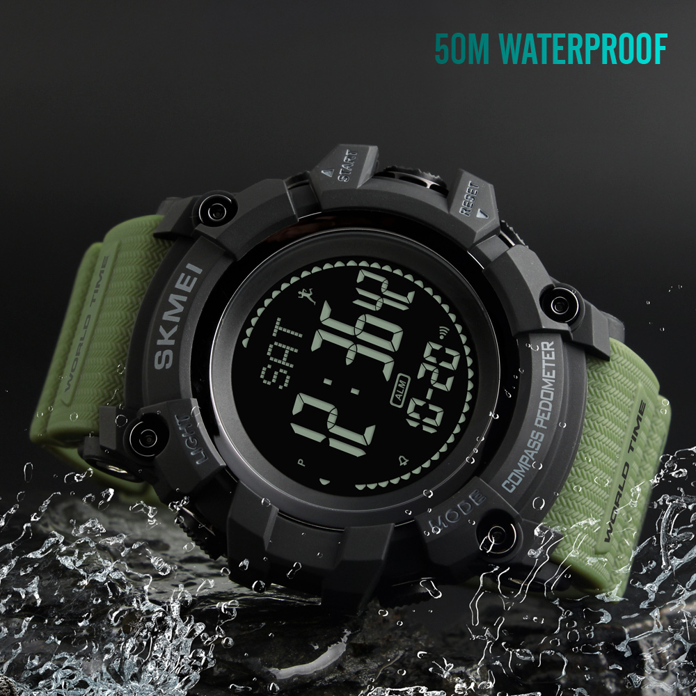SKMEI Watch Digital Pedometer Compass S-Shock Military Waterproof Men Sport Calories