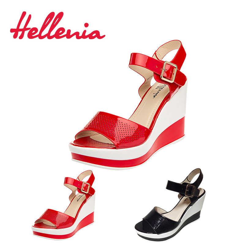 Hellenia 2018 New Fashion High Heels Sexy wedges Female Black Red Color thick heel Brand shoes Women Sandal Casual ladies new summer sandal high heel women thick bottom female sandals casual shoes fashion leather sandal comfortable sweet cute woman
