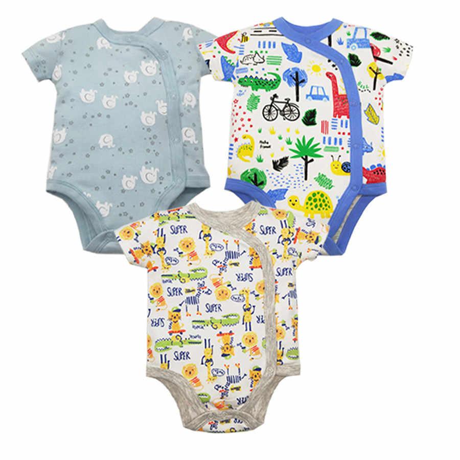 3 шт./партия, 100% хлопковые комбинезоны для детей, летняя одежда для маленьких мальчиков, боди для новорожденных, комбинезон для младенцев, комплект одежды для малышей с рисунком
