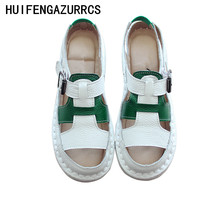 HUIFENGAZURRCS-Summer Genuine leather Sandals,fishmouth flat sole hollow-out series stitching comfortable womens shoes