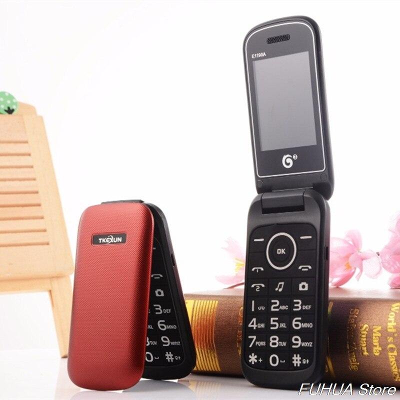 Фото. Оригинальный TKEXUN E1190A Dual SIM флип мобильный телефон Bluetooth FM MP3 Vedio дешевые старика те