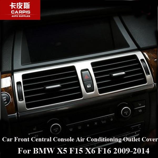 Chrome voiture avant Console centrale climatisation sortie couvercle cadre garniture pour BMW X5 F15 X6 F16 2009-2014 accessoire voiture style