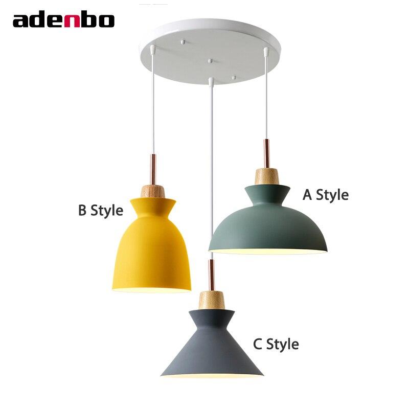 Modern Ceiling Hanging Pendant Lights Loft E27 Luminaire Macaron Light Aluminum Shade For Simple Style Dining Room Lighting