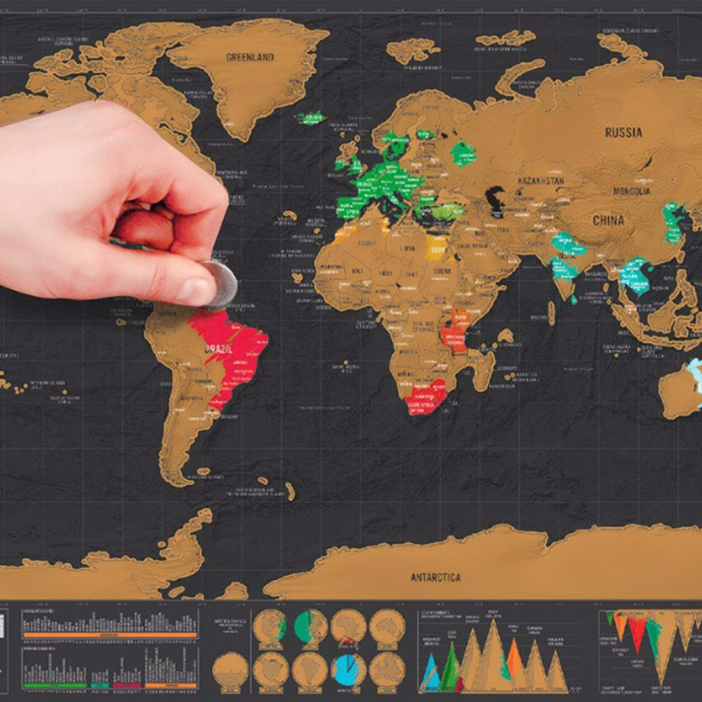 Mini viaje de lujo negro raspe mapa del mundo pintura personalizada vacaciones entrar regalo etiqueta de la pared 82,5x59,5 cm gota libre