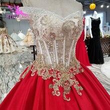 AIJINGYU Modest vestidos bonitos baratos Encaje Vintage reina de 2 piezas con vestido de perlas de talla grande 26 colección de boda para novia