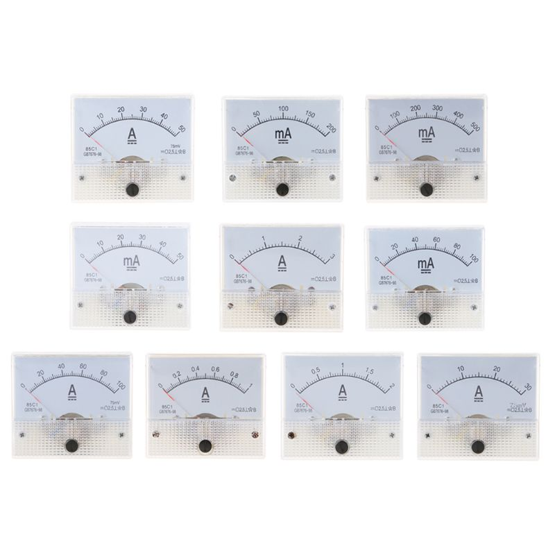 85C1 Ammeter DC Analog Current Meter Panel Mechanical Pointer Type 1/2/3/30/50/100A 50/100/200/500mA