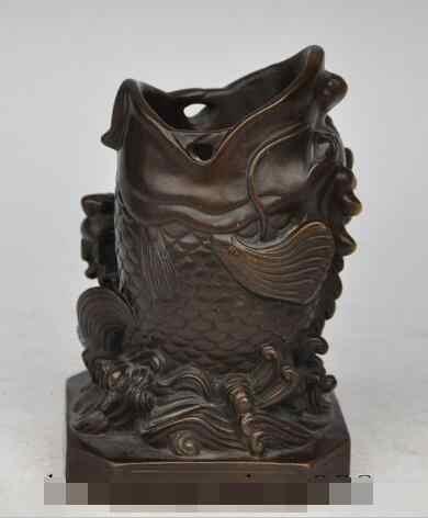 "Zsr S05576 6 ""中国風水青銅器動物2金魚魚幸運ブラシポット鉛筆花瓶"