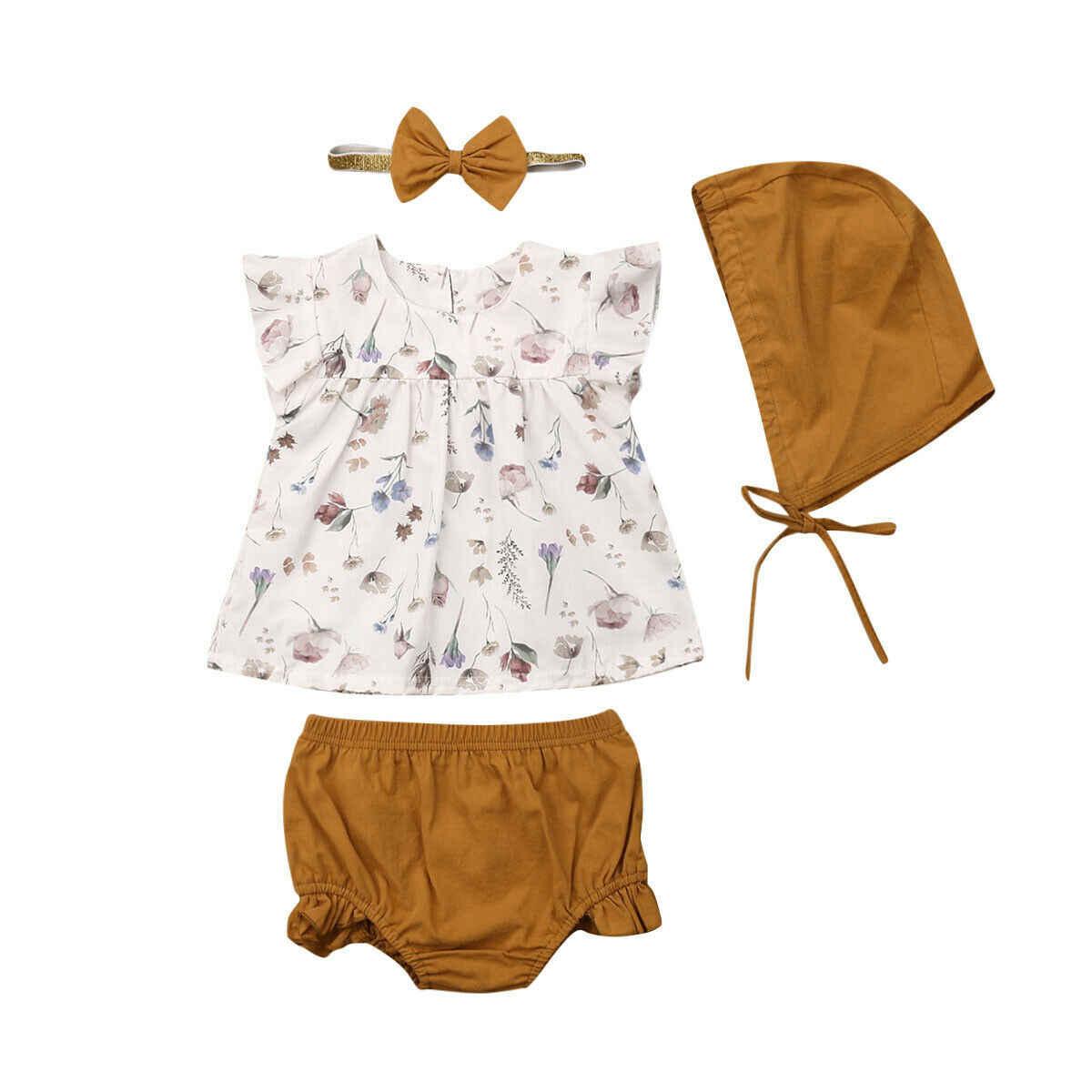 4 Uds verano niños recién nacidos bebé niñas Floral Top camiseta pantalones sombrero traje ropa conjuntos de lentejuelas ropa