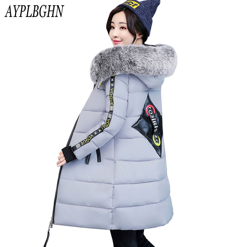 fashion New Winter Coat Women 2017 Thick Warm Winter Jackets Female Fur Collar Hooded Long Parka Coat Plus Size Outerwear 6L59 slim winter jackets women belt long down coat 2016 new fashion women s winter coat fur collar coats female thick warm parka y269