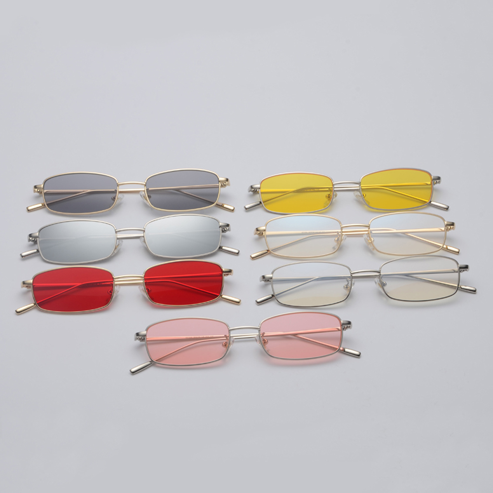Small Square Ultraviolet Proof  Sunglasses Metal Frame Yellow Red Vintage Round Sun Glasses Inisex Eyewear Outdoor Eyeglasses okulary wojskowe