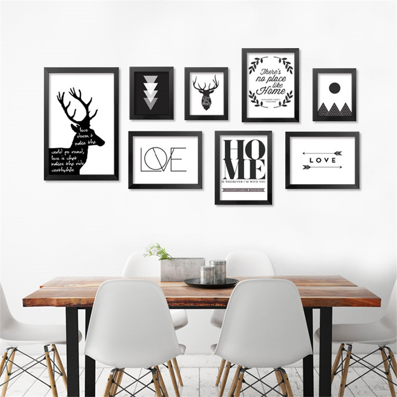 Modern nordic minimalist black white wall art quote deer for Minimalist wall decor