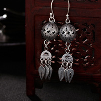 foot silver retro dumb light to make old hand stitched silk lady's high end 100 set pure silver ear pendant earrings