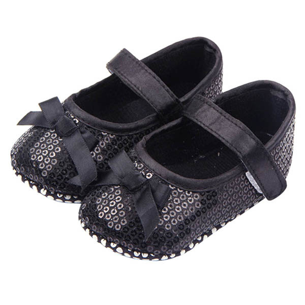 Newly Baby Girl Shoes Infant Girl Bling Sequined Baby Shoes Bow Decor Black First Walker