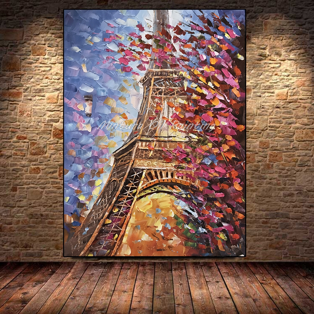 Large Hand Painted Palette Knife Tower Oil Painting On