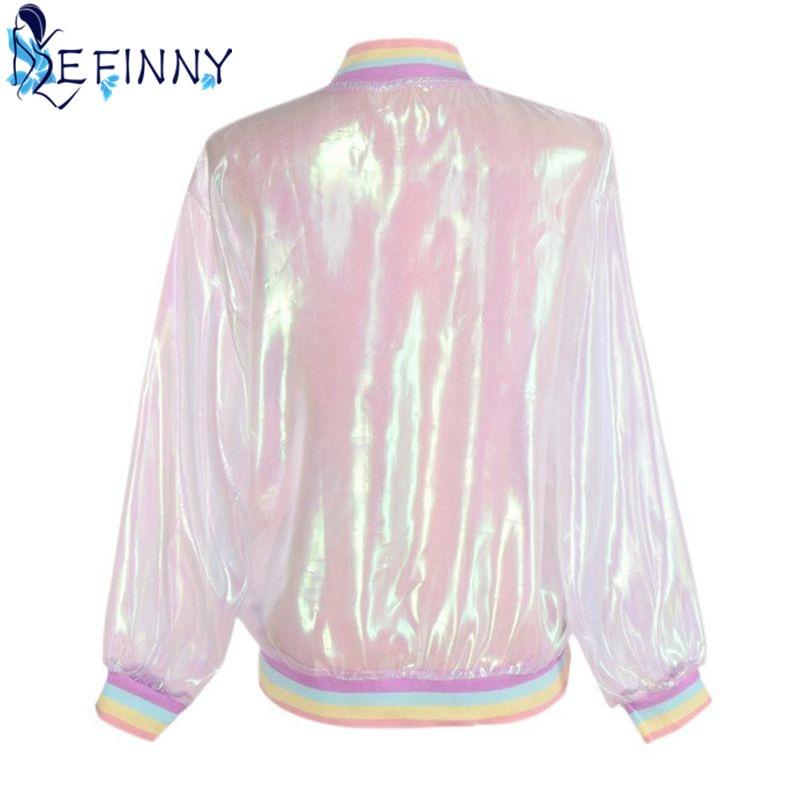 2018 Women Jacket Sunscreen Laser Rainbow Symphony Hologram Light Girl Coat Iridescent Transparent Bomber Jacket Sunproof