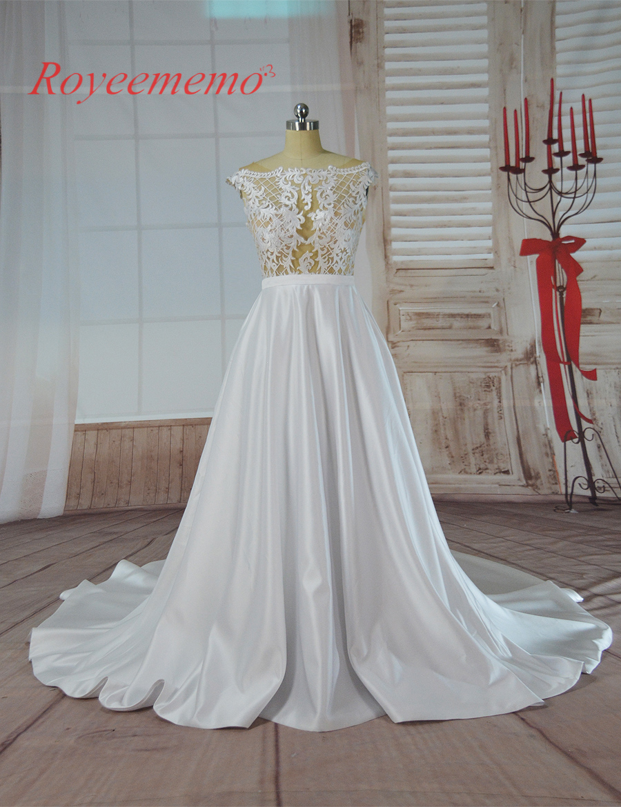 2017 hot sale sexy skin color tulle transparent top special lace design Wedding Dress factory made wholesale price wedding gown
