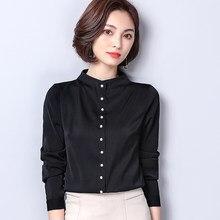 cad8eeaa938 2018 осень Для женщин рубашки длинный рукав со стоячим воротником Тонкий  Моделирование Шелковый Атлас коммутируют блузка рубашка.