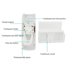 GOALONE 2Pcs/Set Toothbrush Holder Hands Free Automatic Toothpaste Squeezer with Wall Mount Toothbrush Holder Set for Bathroom