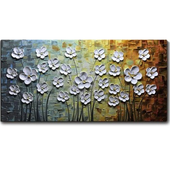 White Daisy Flower Oil Painting 3D Hand-Painted On Canvas Abstract Artwork Art Hanging Wall Decoration Knife Abstract Painting