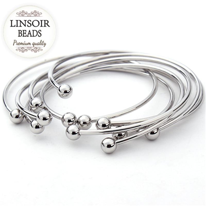 5 unids / lote plata europea plateada ajustable brazalete abierto - Bisutería - foto 1