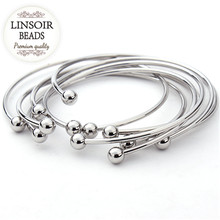 5pcs/lot European Silver Plated Adjustable Cuff Open Bangles For Women Expandable Wire Bangles Bracelets With Bead Charms F2012