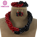 Charms Black&Red Twisted Strands African Jewelry Set Necklace Crystal Beads Jewelry Set Free Shipping AJS031